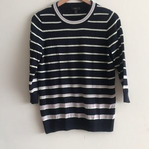 J.Crew Crew Black Label Neck Sweater Stripe Size M